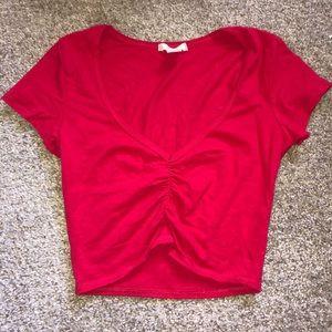 Red cinched crop top